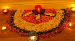 Ganpati Decoration Ideas Diyas Flower Rangoli